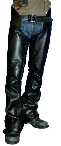 MOTOBLUEZ モトブルーズ 【HEAVY RED LABEL】 カウオイルドレザーローライズチャップス ブラック サイズ:S