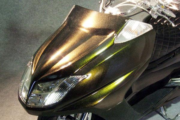 WARRIORZ ウォーリアーズ スクーター外装 マグザム用 エアロフェイス V1(バージョンワン) カラー:ダークグリニッシュグレーメタリック3(スモークグリーン) MAXAM [マグザム] SG17J MAXAM [マグザム] SG21J