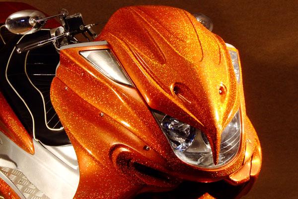 WARRIORZ ウォーリアーズ スクーター外装 マジェスティ用 エアロフェイス V3(バージョンスリー) カラー:ベリーダークオレンジ(ブラウン)