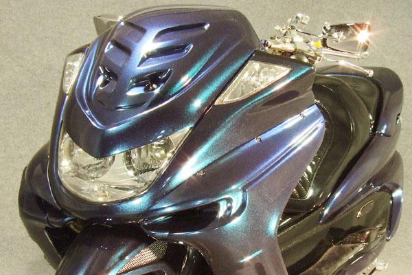 WARRIORZ ウォーリアーズ スクーター外装 マジェスティ用 エアロフェイス・V4(バージョンフォー) カラー:ダークパープリッシュブルー