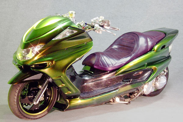 WARRIORZ ウォーリアーズ スクーター外装 マジェスティ用 チョップフェイス・サイドカウル・リアウイング V4(バージョンフォー)C 3点セット カラー:ダークパープリッシュブルー