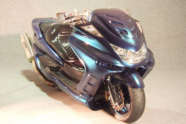 WARRIORZ ウォーリアーズ スクーター外装 マジェスティ用 エアロフェイス・サイドカウル・リアウイング V4(バージョンフォー) 3点セット カラー:ダークパープリッシュブルー