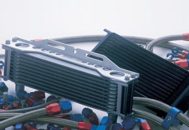 EARLS アールズ オイルクーラー本体 ストレート オイルクーラー・フルシステム コアカラー:ブラック サイズ:9インチ10段 ステンメッシュ仕様 フィッティングカラー:ブルー/レッド ホース取廻し:サイド廻し