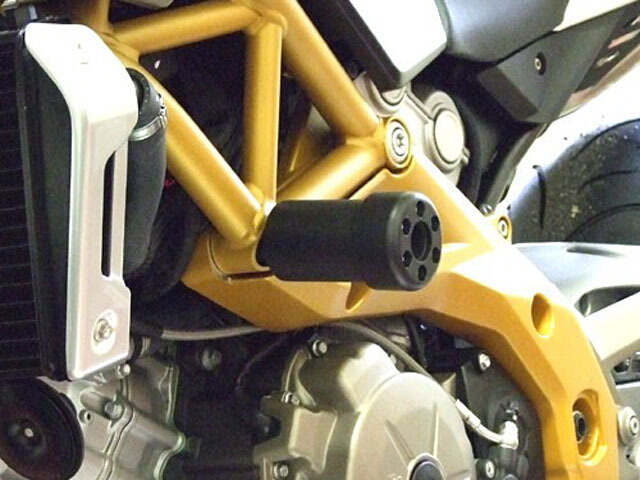 P&A International パイツマイヤーカンパニー ガード・スライダー 衝撃吸収ダンパー内蔵クラッシュパッド X-Pad ロング(90mm) カラー:アルミニウムシルバー SL750 SHIVER SMV750 DORSODURO