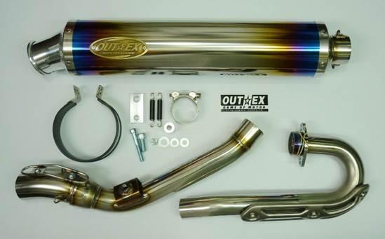 アウテックス OUTEX.R-SSTG/O2 フルエキゾーストマフラー サイレンサーバンドステーカラー:クリアーアルマイト WR250R WR250X