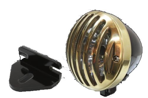 ガレージT&F ヘッドライト本体・ライトリム/ケース 4.5インチバードゲージヘッドライト&ライトステー(タイプE)キット ヘッドライト:ブラック仕上 250TR