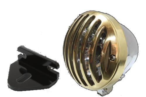 ガレージT&F ヘッドライト本体・ライトリム/ケース 4.5インチバードゲージヘッドライト&ライトステー(タイプE)キット ヘッドライト:メッキ仕上 250TR