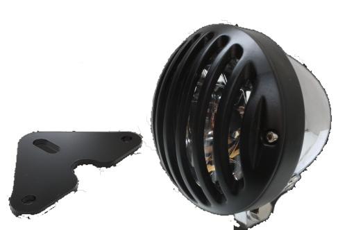 ガレージT&F ヘッドライト本体・ライトリム/ケース 4.5インチバードゲージヘッドライト&ライトステー(タイプF)キット バードゲージカバー:ブラック仕上げ ヘッドライト:メッキ仕上 グラストラッカー グラストラッカー ビッグボーイ