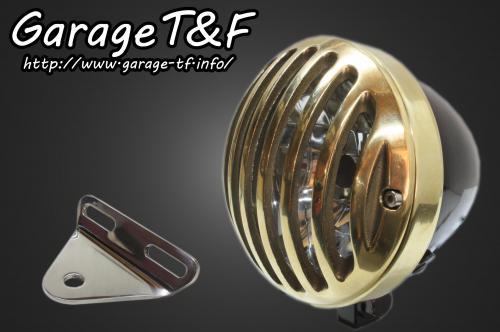 ガレージT&F ヘッドライト本体・ライトリム/ケース 4.5インチバードゲージヘッドライト&ライトステー(タイプA)キット ヘッドライト:ブラック仕上 ビラーゴ250(XV250)