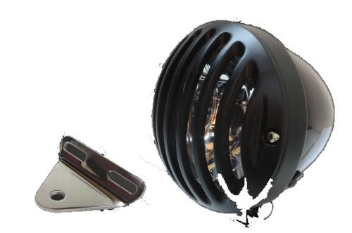 ガレージT&F ヘッドライト本体・ライトリム/ケース 4.5インチバードゲージヘッドライト&ライトステー(タイプA)キット バードゲージカバー:ブラック仕上げ ヘッドライト:ブラック仕上 ドラッグスター 250