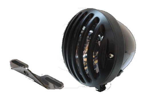 ガレージT&F ヘッドライト本体・ライトリム/ケース 4.5インチバードゲージヘッドライト&ライトステー(タイプB)キット バードゲージカバー:ブラック仕上げ ヘッドライト:ブラック仕上 ドラッグスター1100クラシック