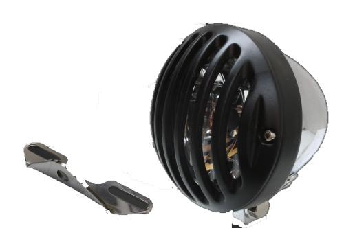 ガレージT&F ヘッドライト本体・ライトリム/ケース 4.5インチバードゲージヘッドライト&ライトステー(タイプB)キット バードゲージカバー:ブラック仕上げ ヘッドライト:メッキ仕上 ドラッグスター1100クラシック