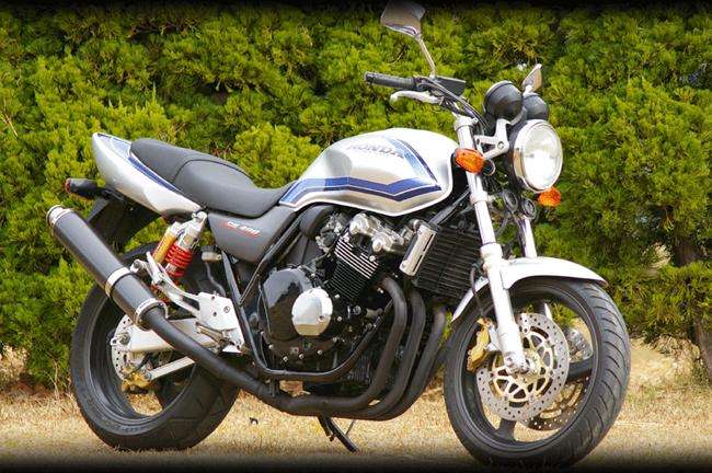 MotoGear モトギア スリップオンマフラー サイレンサータイプ:チタン60スラッシュエンドタイプB(イン側、エンド側) CB400スーパーフォア