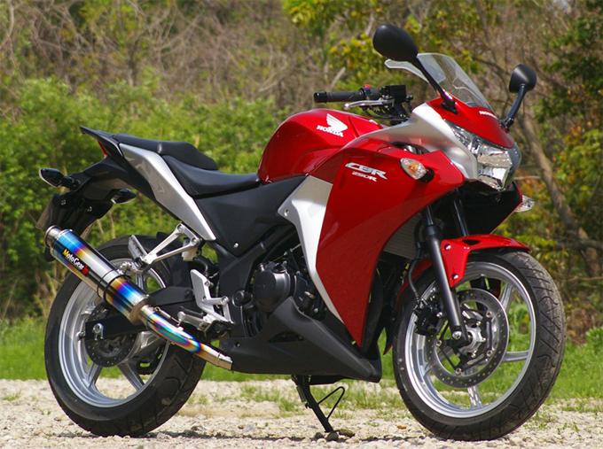 MotoGear モトギア プリズムスリップオンマフラー サイレンサータイプ:チタンカールエンドタイプB(イン側、エンド側) CBR250R
