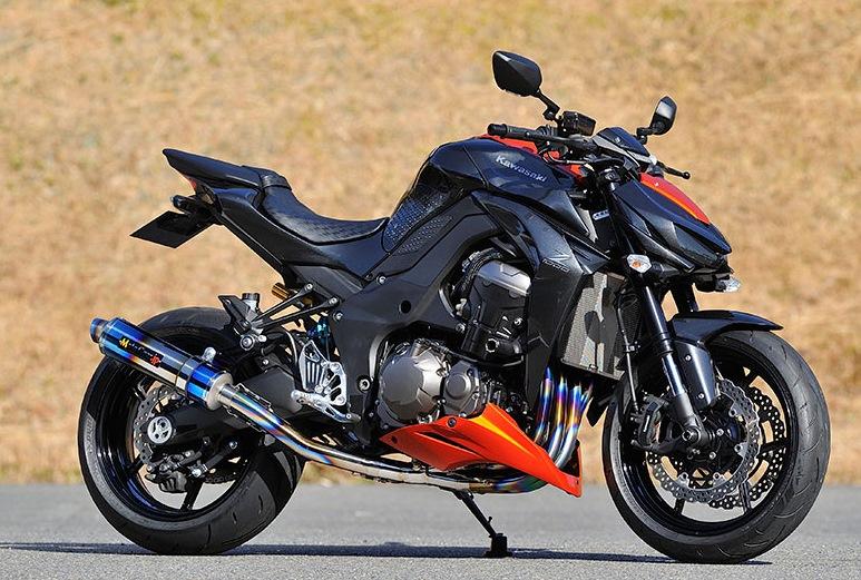 MotoGear モトギア スリップオンマフラー ツインスリップオンエキゾースト スタンダードタイプ サイレンサータイプ:カーボンスラッシュエンド Z1000 (水冷)