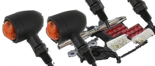 ガレージT&F ウインカー マイクロウィンカーキット アルミ製ブラック仕上げ カラー:メッキ グラストラッカー グラストラッカー ビッグボーイ