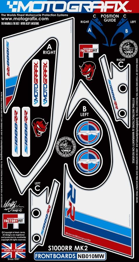 【ポイント5倍開催中!!】MOTOGRAFIX モトグラフィックス ステッカー・デカール ボディーパッド カラー:ホワイト/ブルー/レッド S1000RR