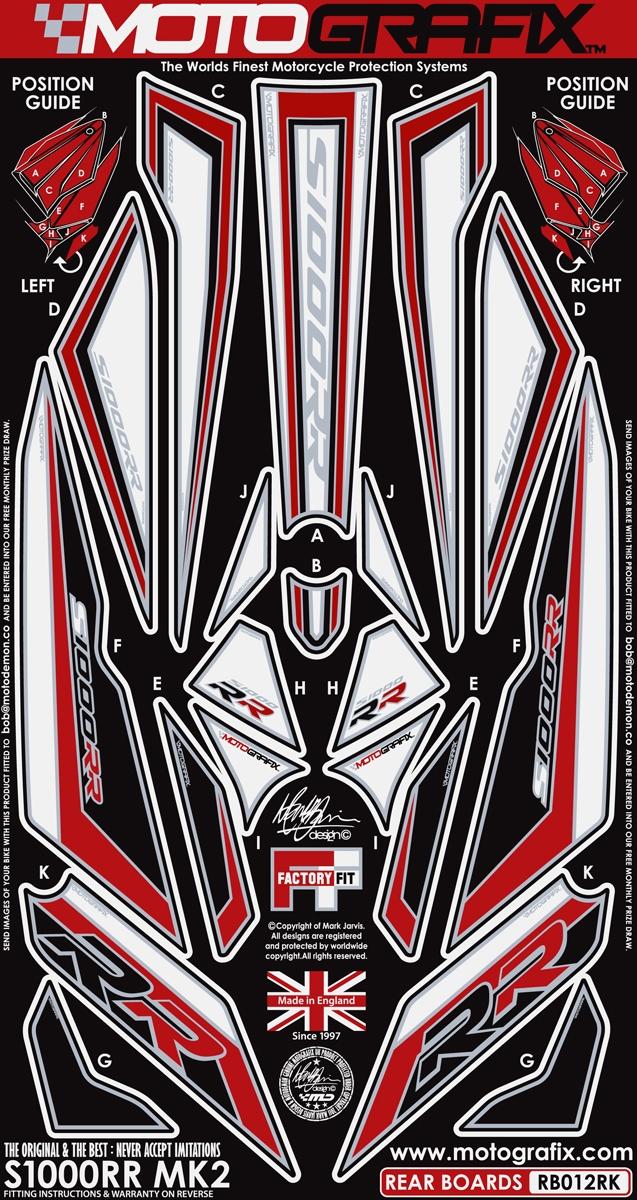 MOTOGRAFIX モトグラフィックス ステッカー・デカール ボディーパッド カラー:ブラック/レッド/ホワイト S1000RR