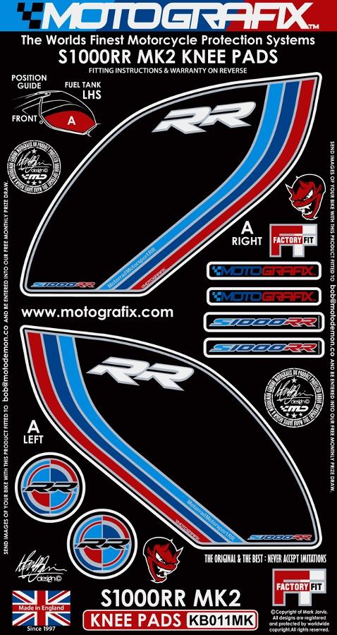 【ポイント5倍開催中!!】MOTOGRAFIX モトグラフィックス ステッカー・デカール ボディーパッド カラー:ブラック/ブルー/レッド S1000RR