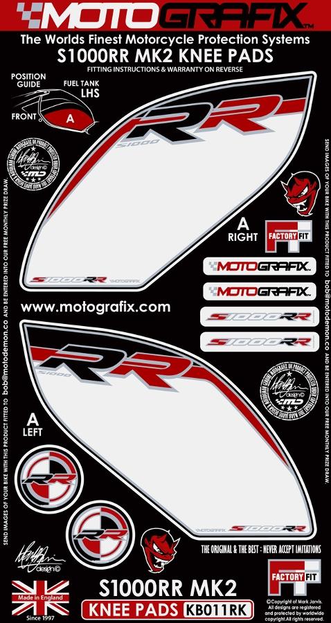 【ポイント5倍開催中!!】MOTOGRAFIX モトグラフィックス ステッカー・デカール ボディーパッド カラー:ホワイト/ブラック/レッド S1000RR