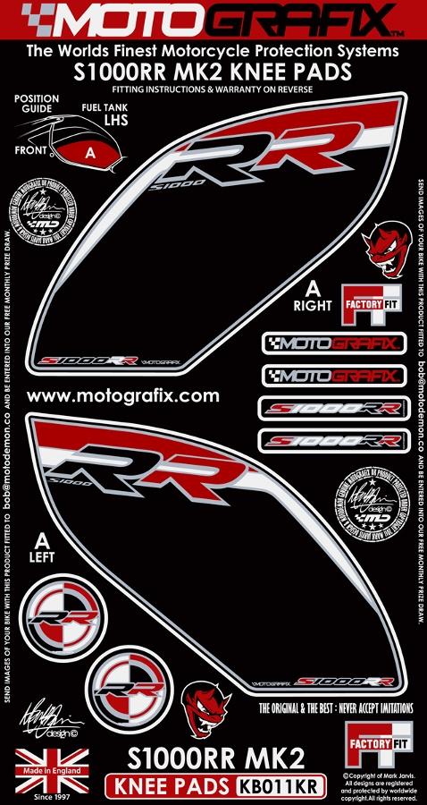 【ポイント5倍開催中!!】MOTOGRAFIX モトグラフィックス ステッカー・デカール ボディーパッド カラー:ブラック/レッド/ホワイト S1000RR