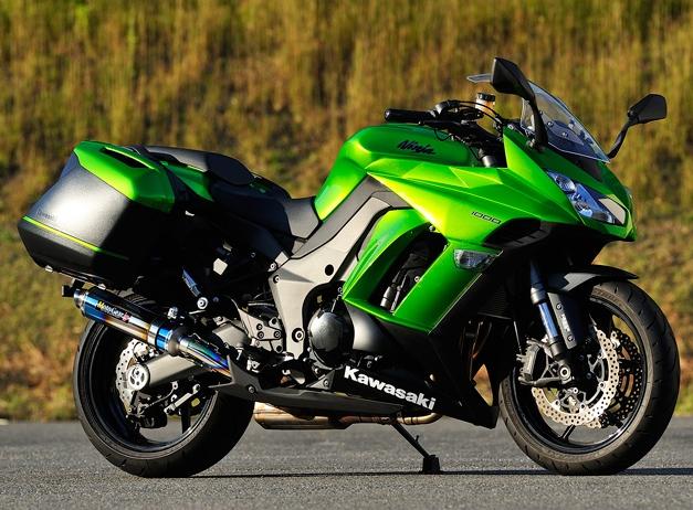 MotoGear モトギア スリップオンマフラー ツインスリップオンエキゾースト スタンダードタイプ サイレンサータイプ:チタンカールエンドタイプC(イン側、エンド側、カール部) Ninja1000
