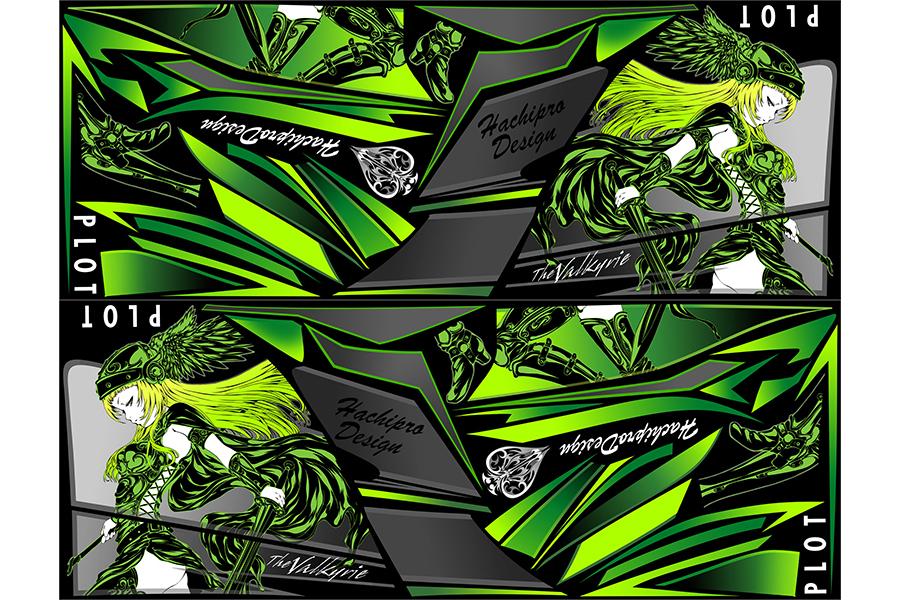 PLOT プロト ステッカー・デカール デカールキット ヴァルキリー カラー:グリーン ニンジャ250