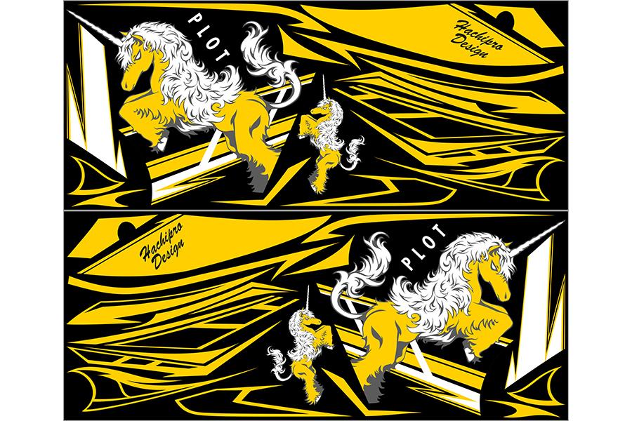 【ポイント5倍開催中!!】【クーポンが使える!】 PLOT プロト ステッカー・デカール デカールキット ユニコーンA カラー:ブラック/イエロー YZF-R25 YZF-R3