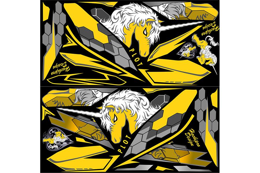 【ポイント5倍開催中!!】【クーポンが使える!】 PLOT プロト ステッカー・デカール デカールキット ユニコーンB カラー:ブラック/イエロー YZF-R25 YZF-R3