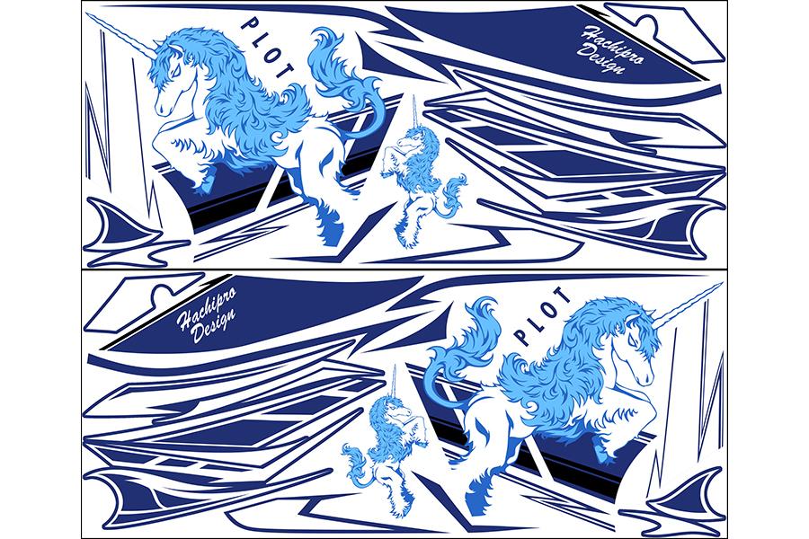 【ポイント5倍開催中!!】【クーポンが使える!】 PLOT プロト ステッカー・デカール デカールキット ユニコーンA カラー:ブルー YZF-R25 YZF-R3