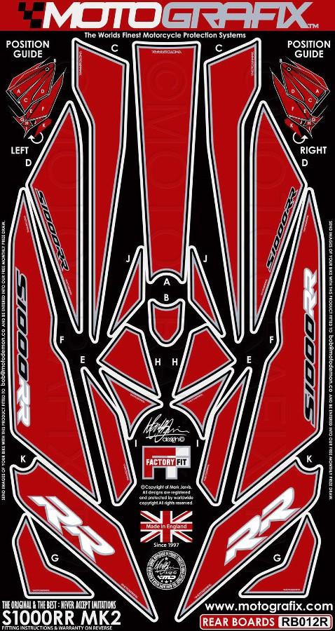 MOTOGRAFIX モトグラフィックス ステッカー・デカール ボディーパッド カラー:レッド S1000RR