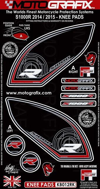 【ポイント5倍開催中!!】MOTOGRAFIX モトグラフィックス ステッカー・デカール ボディーパッド カラー:ブラック/レッド S1000RR