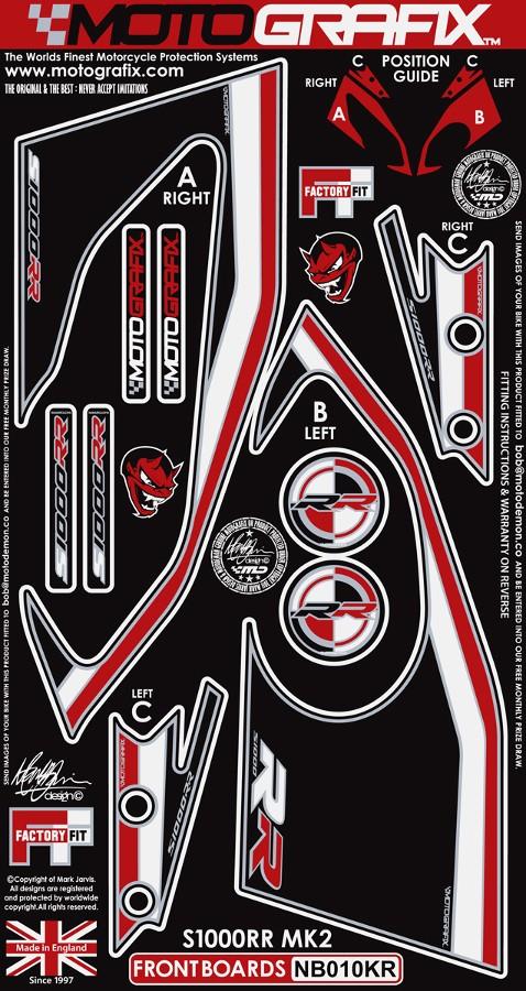 【ポイント5倍開催中!!】MOTOGRAFIX モトグラフィックス ステッカー・デカール ボディーパッド カラー:ブラック/ホワイト/レッド S1000RR