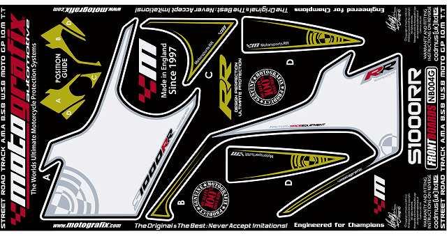 【ポイント5倍開催中!!】MOTOGRAFIX モトグラフィックス ステッカー・デカール ボディーパッド カラー:ホワイト/ブラック(MT-NB004G) S1000RR