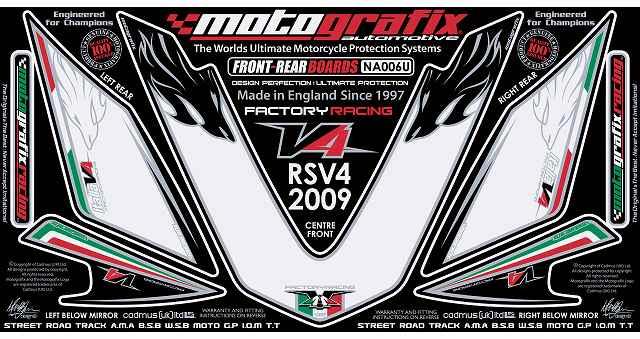 【ポイント5倍開催中!!】MOTOGRAFIX モトグラフィックス ステッカー・デカール ボディーパッド RSV4 FACTORY 09-12