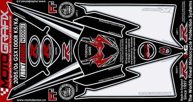 【ポイント5倍開催中!!】MOTOGRAFIX モトグラフィックス ステッカー・デカール ボディーパッド GSX-R1000 04-06 K-5