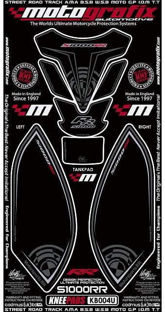 【ポイント5倍開催中!!】MOTOGRAFIX モトグラフィックス ステッカー・デカール ボディーパッド カラー:ブラック(MT-KB004U) S1000RR