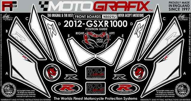 【ポイント5倍開催中!!】MOTOGRAFIX モトグラフィックス ステッカー・デカール ボディーパッド カラー:ホワイト/ブラック(ホワイト) GSX-R1000 L2