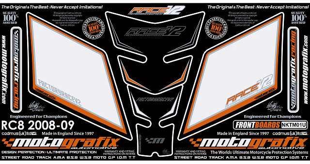【ポイント5倍開催中!!】MOTOGRAFIX モトグラフィックス ステッカー・デカール ボディーパッド KTM RC8 1190 08-