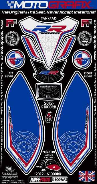 【ポイント5倍開催中!!】MOTOGRAFIX モトグラフィックス ステッカー・デカール ボディーパッド カラー:ブルー/ホワイト/レッド S1000RR