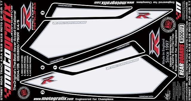 【ポイント5倍開催中!!】【イベント開催中!】 MOTOGRAFIX モトグラフィックス ステッカー・デカール ボディーパッド カラー:ホワイト/ブラック GSX-R600(04-05) GSX-R750(04-05)