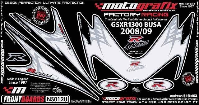 MOTOGRAFIX モトグラフィックス ステッカー・デカール ボディーパッド カラー:ホワイト/ブラック GSX1300R HAYABUSA [ハヤブサ]