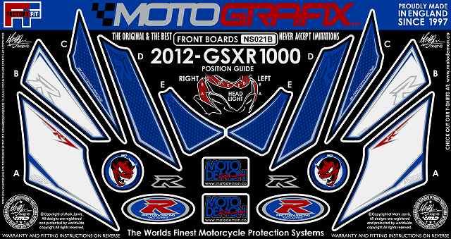 【ポイント5倍開催中!!】MOTOGRAFIX モトグラフィックス ステッカー・デカール ボディーパッド カラー:ホワイト/ブルー GSX-R1000 L2