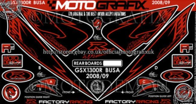【在庫あり】MOTOGRAFIX モトグラフィックス ステッカー・デカール ボディーパッド GSX1300R HAYABUSA [ハヤブサ]