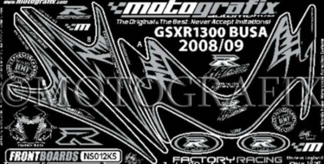 【ポイント5倍開催中!!】MOTOGRAFIX モトグラフィックス ステッカー・デカール ボディーパッド カラー:ブラック/シルバー GSX1300R HAYABUSA [ハヤブサ]