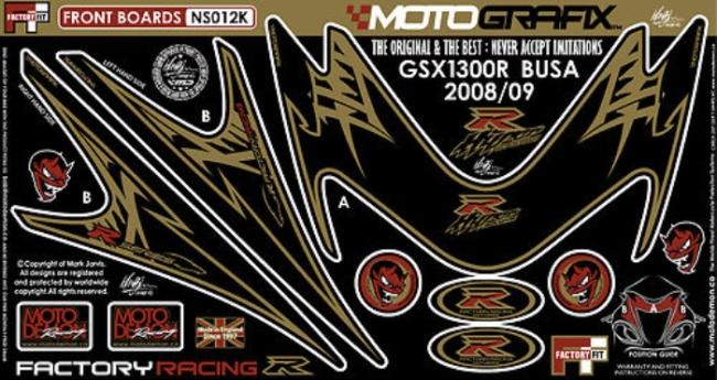 【ポイント5倍開催中!!】MOTOGRAFIX モトグラフィックス ステッカー・デカール ボディーパッド カラー:ブラック/ゴールド(K) GSX1300R HAYABUSA [ハヤブサ]