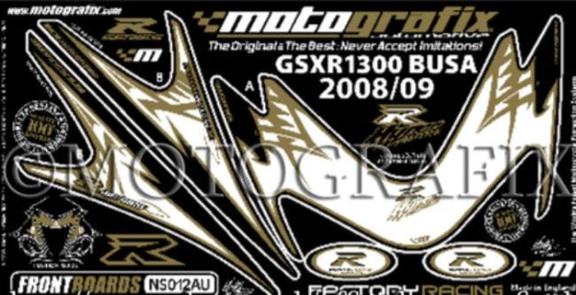 【ポイント5倍開催中!!】MOTOGRAFIX モトグラフィックス ステッカー・デカール ボディーパッド カラー:ホワイト/ゴールド(AU) GSX1300R HAYABUSA [ハヤブサ]