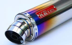 K2TEC ケイツーテック バッフル・消音装置 汎用チタンサイレンサー 100・450・50.8 カール エンブレム付き