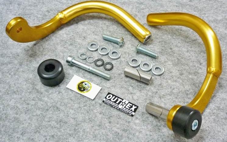 アウテックス ハンドガード 振動吸収レバーガード OUTEX.VALG 削り出しタイプ アルマイトカラー:ゴールド ハンドル内径:14mm