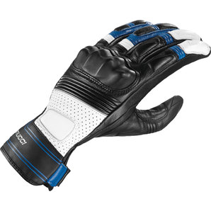 Vanucci ヴァヌッチ レザーグローブ SHORT RACING III GR GLOVES, BLK/BLUE Size:L